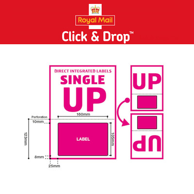 Royal Mail Click and Drop Labels- A4 Integrated Labels Style UP