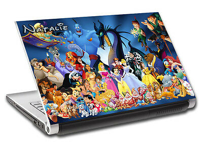 Disney Characters Personalized LAPTOP Skin Vinyl Decal Sticker WITH NAME L64