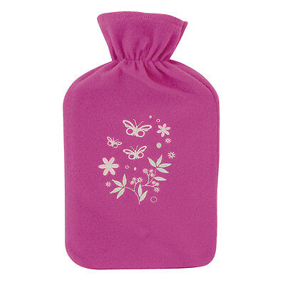 SlumberzzZ Lightweight Pretty Pink Floral Fleece Cover 2 Litre Hot Water Bottle