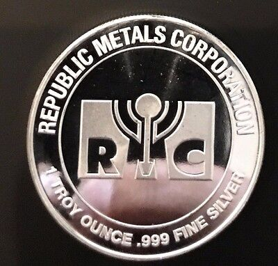 1 Troy Oz .999 Fine Silver Proof Like Coin RMC Republic Metals Corp Bullion 999