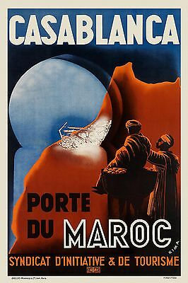 Vintage Art Deco French Casablanca Poster 1920s Morocco Print Picture Wall Retro