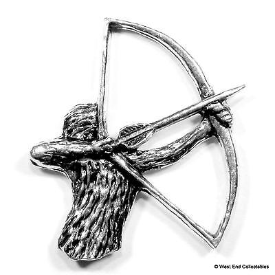Archery Bowman Pewter Pin Brooch Badge -UK Handmade- Bow & Arrow Hunting