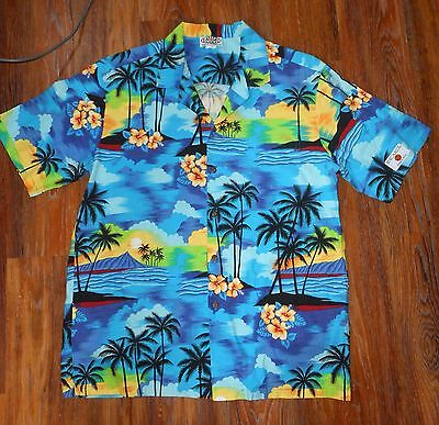 Pacific Legend Blue Hawaiian Shirt ~ Hibiscus, Palm Trees, Sunset~ Extra Large