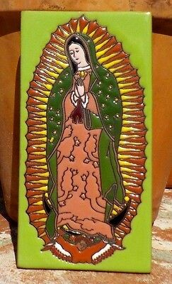VIRGIN OF GUADALUPE RED CLAY TILE 3 IN x 6 IN HAND  MADE MEXICO FREE SHIPPING