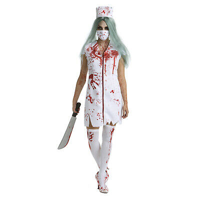 Womens Zombie Nurse Halloween Fancy Dress Costume + Hat + Mask Horror Outfit