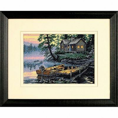 Dimensions - Counted Gold Cross Stitch Kit - Morning Lake - Cabin - D65091