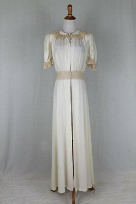 Vintage 1930's 1940's Peignoir Ivory Silky Rayon & Lace Tula Robe WWII Small