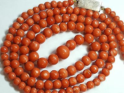 Stunning c.1930 Japanese Coral Beaded Necklace 5.1 mm to 10.2 mm 18k Gold 3191