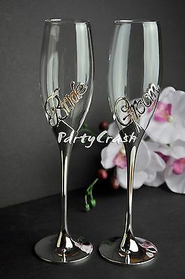 Wedding Bride Groom Engagement Toasting Glasses Champagne Flutes Wine Silver