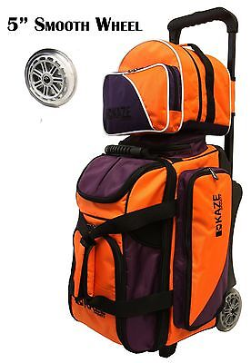 KAZE SPORTS Deluxe 2/3 Ball Bowling Roller Bag Smooth PU Wheel Add-On Spare Tote