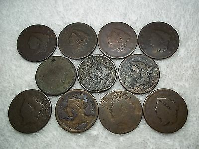 US Large Cents lot of 11 dateless holed ugly well circulated #X6.b2.15