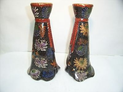 Pair of Porcelain Black Candle Holders