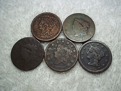 Large Cent US lot of 5 dateless well circulated #X15.b5.16