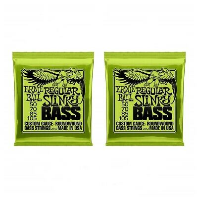 2 Sets Ernie Ball 2832 Regular Slinky Roundwound Bass Guitar Strings 50 - 105