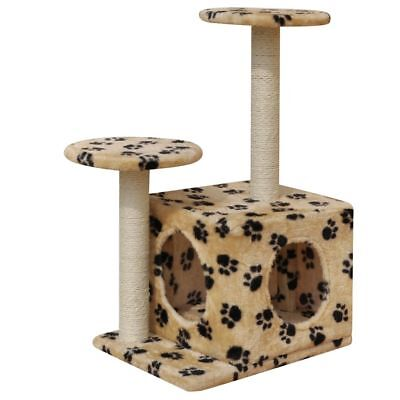 60cm 1 House Cat Tree Scratching Post Activity Centre Bed Beige with Paw Prints