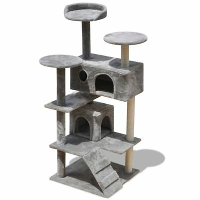 130cm 2 Houses Cat Tree Scratching Post Activity Centre Bed Toys Kitten Pet Grey