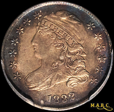 1832 AU55 PCGS 10C Capped Bust Dime, Beautiful Iridescent Blue-Rim Toning!! MARC