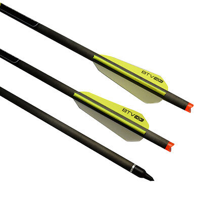 """22"""" Crossbow Bolts Archery Hunting Carbon Arrows BTV Vanes 125 Grains Points"""