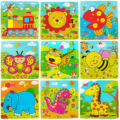 Animals Wooden 9 Pieces Colorful Jigsaw Puzzle Toy Toddler for Kids Eyeable Nice