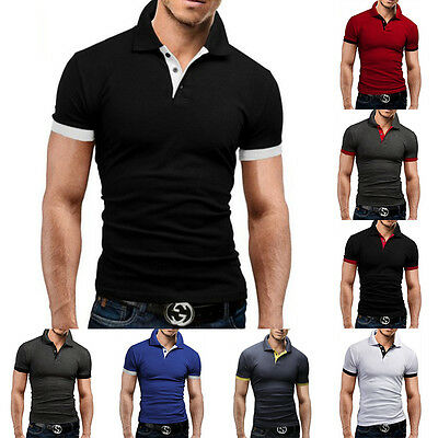 Mens Stylish Slim Fit Short Sleeve Shirts Muscle Tee Tops POLO Casual T-shirt