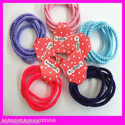 5 Pcs Girls Women Elastic Hair Tie/Hair Band For Ponytail In 5 Colors