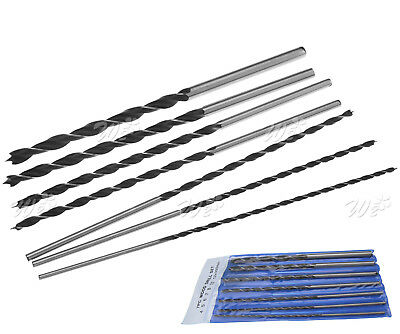 7 x 300mm Extra Long Woodworking Drill Bit Set 4 5 6 7 8 10&12mm With Bag