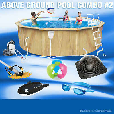 Woodgrain Palladium Swimming Pool 23600L Above Ground Pool Round 550cm
