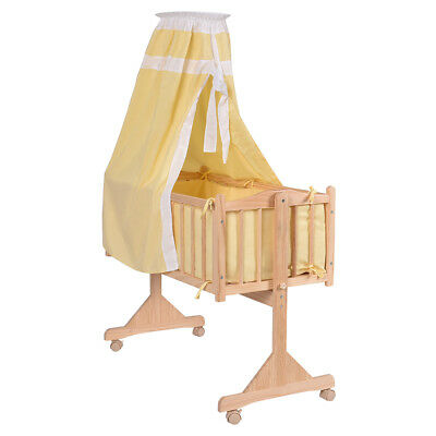 Baby Swing Crib Wooden Infant Cradle Rocking Cot W/ Bedding Set & Castors Pink