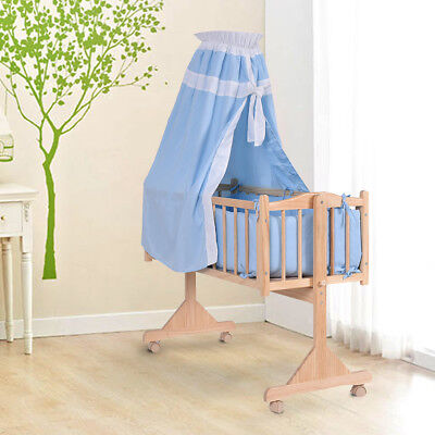 Baby Swing Crib Wooden Infant Cradle Rocking Cot w/Bedding Set