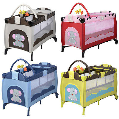 Baby Travel Cot Infant Bed Play Centre Foldable Playpen w/Tray Toys