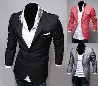 New Stylish Men's Casual Slim Fit Two Button Suit Blazer Coat Jacket Tops