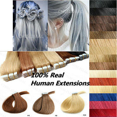 7A  40Cm-66Cm Extensions De Remy Cheveux Pu Tape In Bande Adhesive Naturels