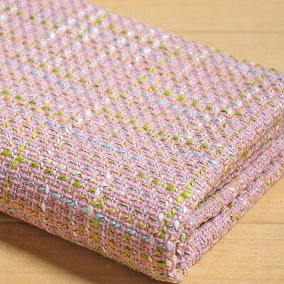 Tweed Rove Check Fabric Pink Wool Effect Clothing Coat Cap Material By Meter New