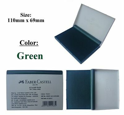 1 x Faber Castell Stamp Pad Green Ink Wood Paper Fabric Color Finger Print
