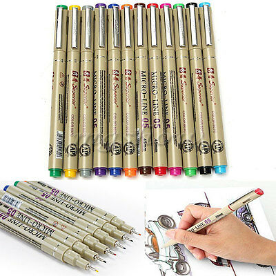 12 Colors Art Manga Fine Head Copic Paint Graphic Drawing Sketch Markers Pen Set