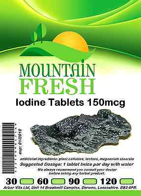 Iodine 150mcg x 30 1 Months Supply All Natural Tablets Max Strength
