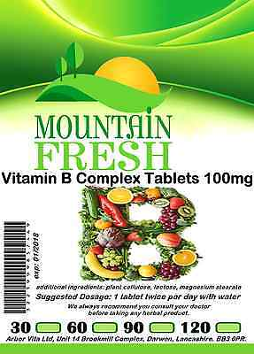 Vitamin B Complex x 30 1 Months Supply All Natural Tablets Max Strength
