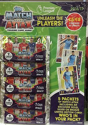 MATCH ATTAX MultiPack of 5 Cards 2016 17 FREE LIMITED EDITION SERGIO AGUERO CARD