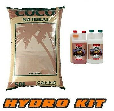 Canna Coco a b Natural 50L Hydroponics Nutrient 1L and Coco Grow Kit