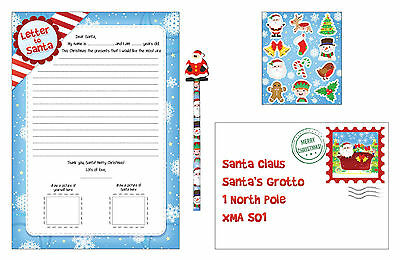 1 , 2 or 4 Letter to Santa Claus Kit Set WITH Christmas Pencil & Stickers