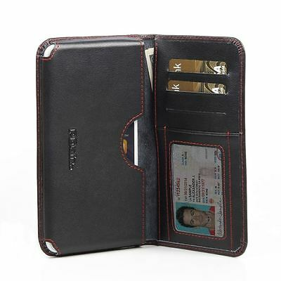 For Apple iPhone 7 Plus Pdair Leather Wallet Book Case Cover Black, Red Stitch