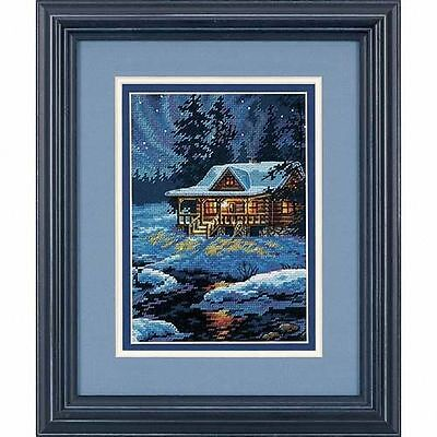 Dimensions - Counted Gold Cross Stitch Kit - Moonlit Cabin - D65007