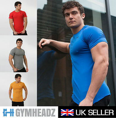 Mens Gym Fitted T-shirt | Training Short Sleeve Sports Tee Muscle Top