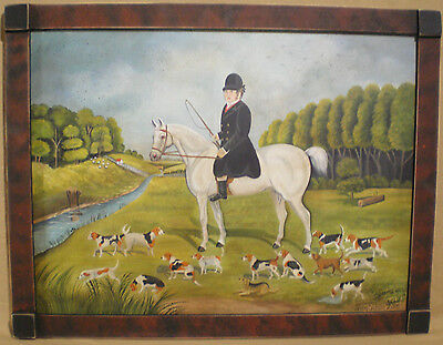 The Hunt Primitive Folk art painting-wood frame-Jenny Salsini