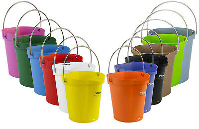 Vikan High Quality 6 Litre Bucket / Pail With Stainless Steel Handle 56881-9