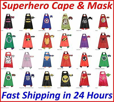 Kids Superhero Cape & Mask Boy Girl Party Costume Set Superman Batman Spiderman