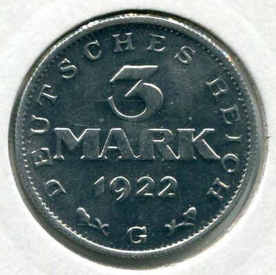 Weimarer Republik 3 Mark 1922 G vz/st