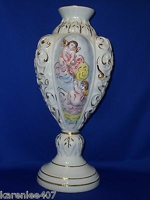 Capodimonte Large Vintage Vase  Cherubs Design Made in Italy  Collectible!