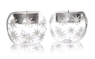 S/2 Vintage White Snowflakes Tealight Candle Holders Christmas Decoration Globes