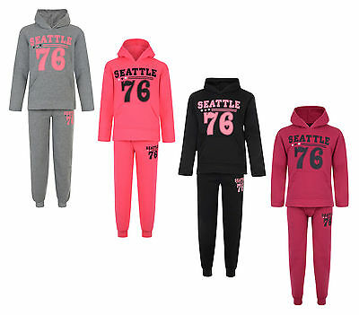 Kids Tracksuit Girls Jog Set Seattle Hooded Top & Joggers Bnwt